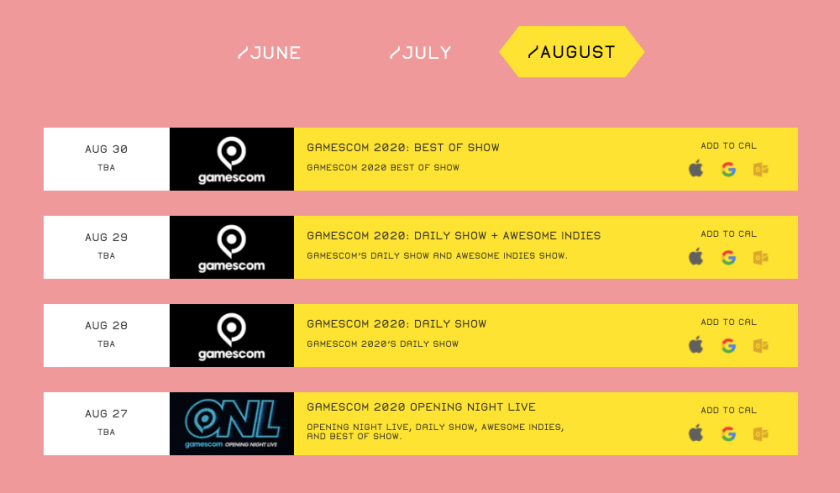 August Summer Game Fest scheduled events as of June 1st, 2020.