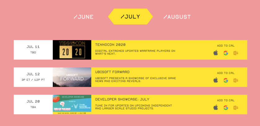 July Summer Game Fest scheduled events as of June 1st, 2020.