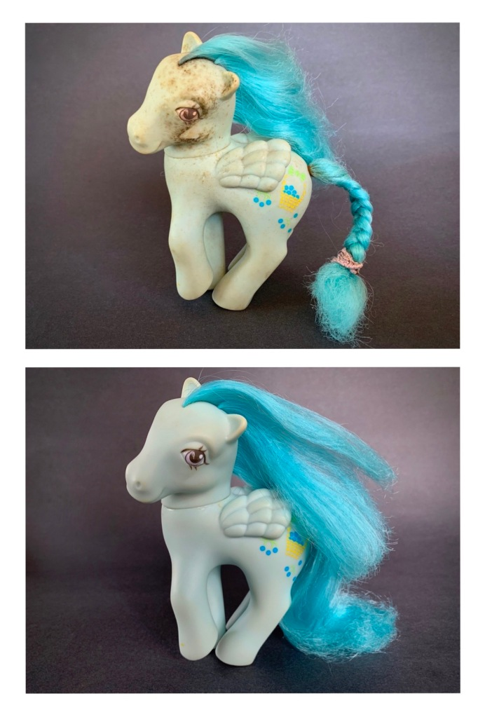 How to Clean Classic My Little Pony Toys - Blueberry Baskets Before and After
