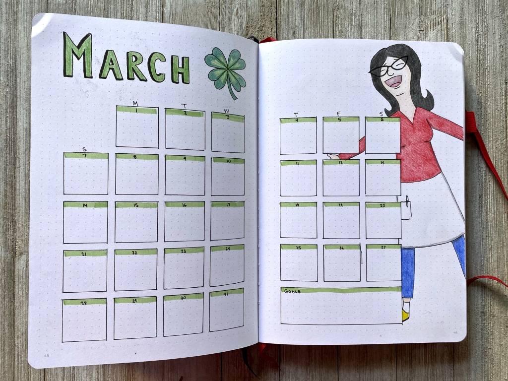 Bob's Burgers BUJO for March with Linda
